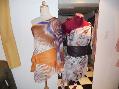 Printed Silk Chiffon tops...add a leather belt accent!