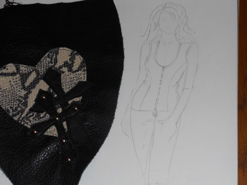 Snakeskin Heart and Cross Applique for Leather Riding Pants