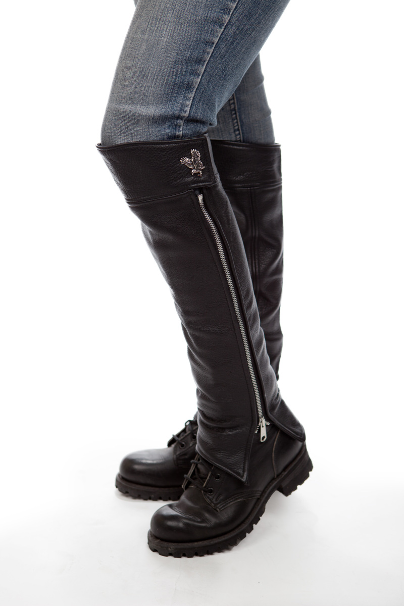 knee high leather half chaps