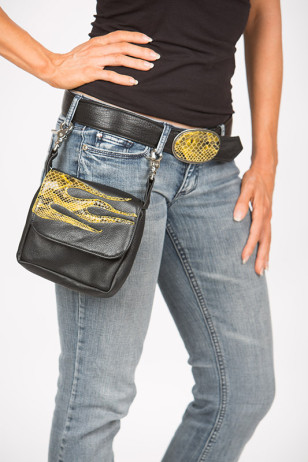 Riding Purse with yellow snake flame appliqué