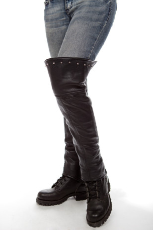 Studded! Thigh High Leather Half Chaps