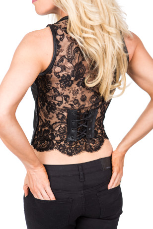 Leather & Lace Black Vest