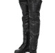Leather & Lace Thigh High Half Chaps in black