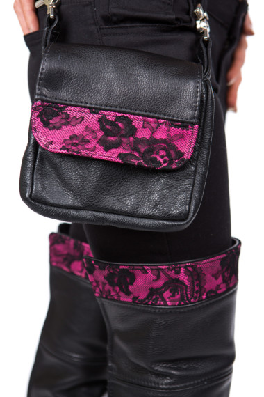 Leather & Lace Riding Purse in pink