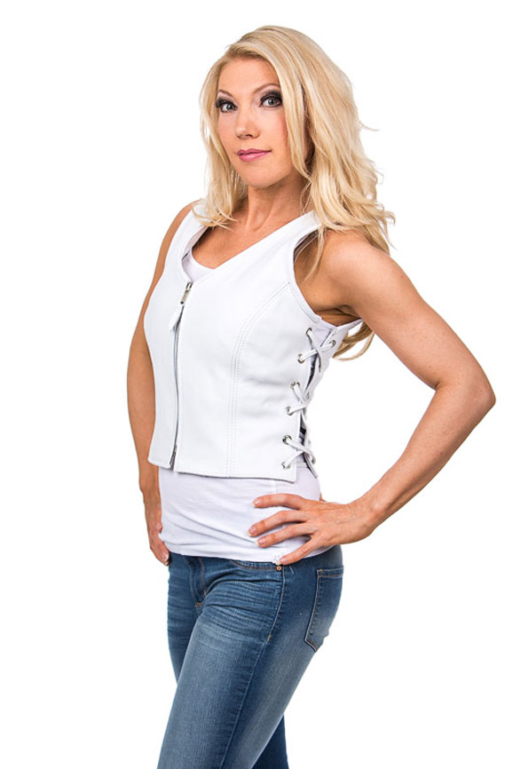 Women's White Leather Vest