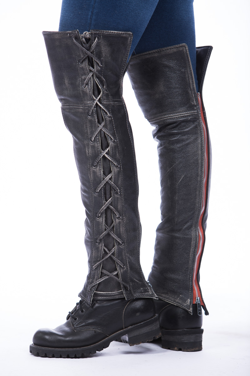 Womens Leather Chaps Canada Distressed Laced Half Chaps